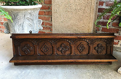 Antique English Carved Oak Wall Shelf Bookshelf Display Rack Celtic Farmhouse