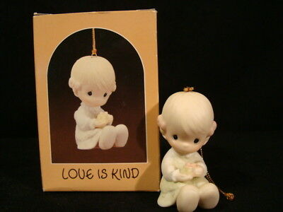 Precious Moments Ornaments-Girl Holding Gift Box/Bow-Love Is Kind-1'st Cross Mk.