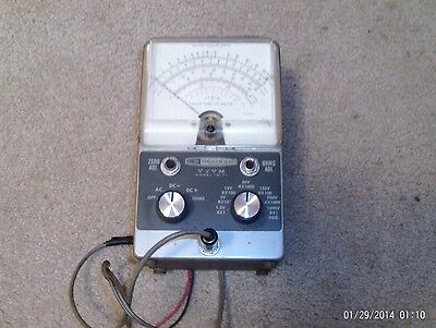 Vintage Heathkit VTVM Vacuum Tube Volt Meter w/ Probe IM-11 *Powers on