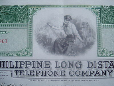 1949 Philippine Long Distance Telephone Co.,president signed Stock Certificate!!