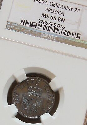 1869-A Germany Prussian State Copper 2P Two Pfennig Germany Empire NGC MS65 BN