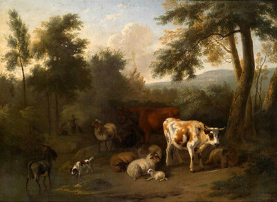 Surprised Oil painting animals cows sheep goats dog by dusk river Hand painted