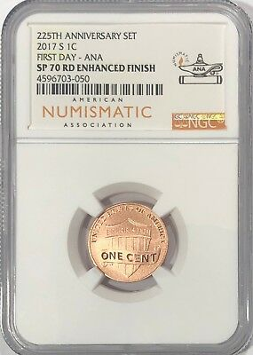 2017 S Enhanced Lincoln Cent Ngc Sp70 Rd First Day Ana Penny From 225Th Set Fdi