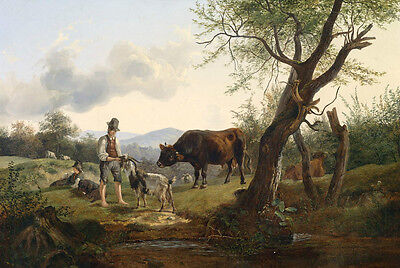 Dream-art Oil painting farmers shepherd with goat cows cattles in field by river