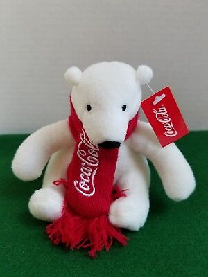 COCA-COLA POLAR BEAR Plush with RED KNIT SCARF Coke Christmas with Tag