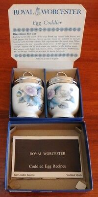 Royal Worcester Fine Porcelain Egg Coddlers Pair - Woodlands Design & New in Box