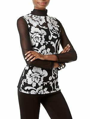 INC 6192 Size Large L Womens NEW Black White Embroidered Blouse Top Sheer-Sleeve