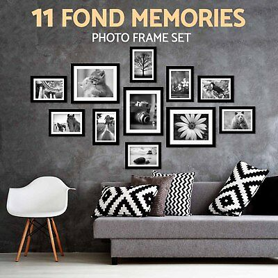 Photo Frame Set 11 pcs Wall Picture Black 135 x 70cm Home Decor Art Colour Gift