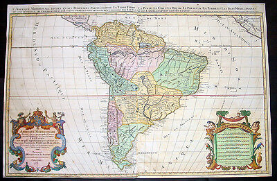 1691 Jaillot Large Original Antique Map of South America - Amerique Meridionale