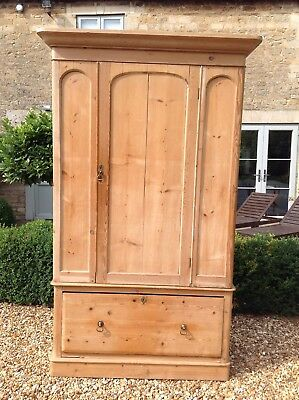 Old Victorian Antique pine wardrobe with deep drawer