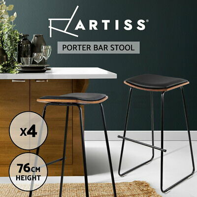 4x Wooden Bar Stools PORTER Kitchen Barstool Dining Chair Wood Black 9078