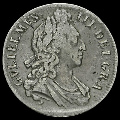 1696 William III Early Milled Silver Octavo Crown, First Bust, GF+