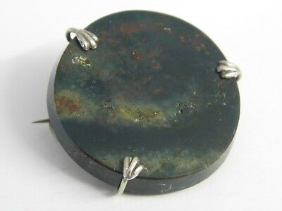 A Lovely Antique Moss Agate Sterling Silver Oval Brooch