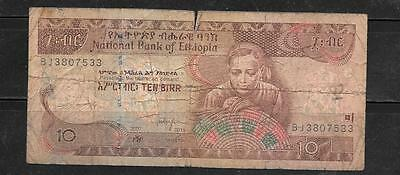 ETHIOPIA $48f 2007 GOOD CIRC 10 BIRR BANKNOTE PAPER MONEY CURRENCY BILL NOTE