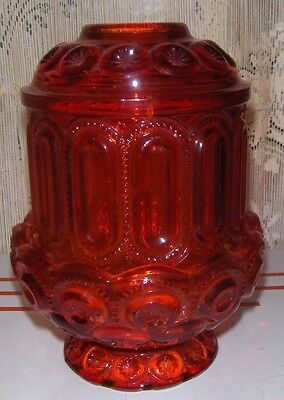 L. E. Smith Red Pressed Glass Moon & Stars Candle Holder Fairy Lamp