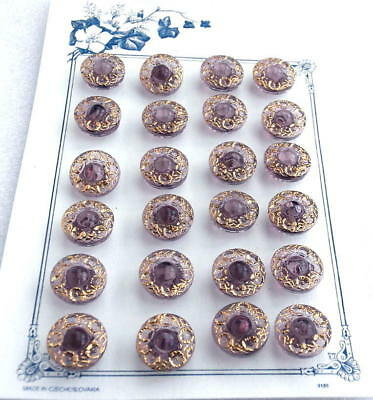 24 Czech Crystal Glass Buttons on Card #G712 - UNIQUE!!!!!!!!!!!!!!!