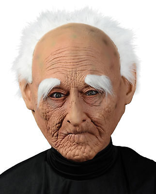 Creepy Old Man Mask With Hair Adult Men's Costume Accessory Halloween Party