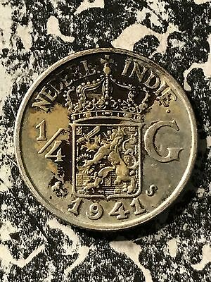 1941-S Netherlands East Indies 1/4 Gulden Lot#6897 Silver!