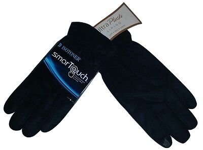 ISOTONER Mens SmarTouch TOUCHSCREEN TEXT Gloves-Ultraplush Black-M, L-$55