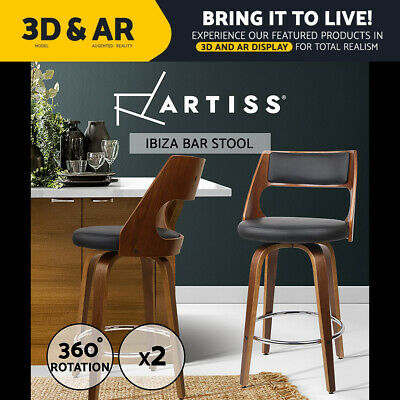 2x Wooden Bar Stools Swivel Barstool Kitchen Dining Chair Wood Black 8569