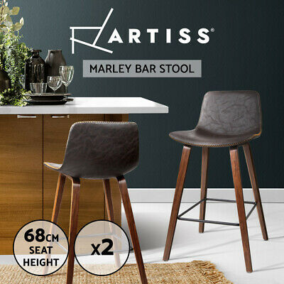 2x Wooden Bar Stools Kitchen Barstool Dining Chair Cafe Wood Black 8701