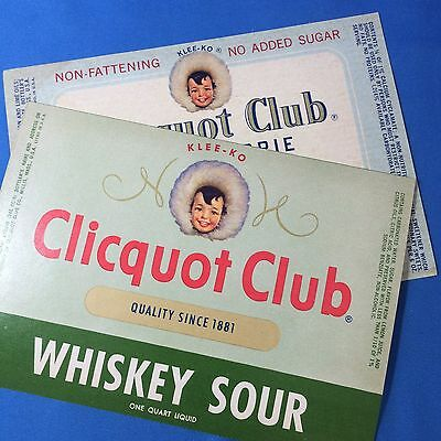 2 Original Vintage CLICQUOT CLUB Lemon Lime WHISKEY SOUR Soda Bottle LABEL