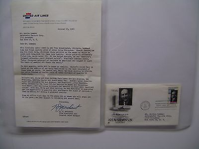 H.J. MERCHANT UNITED AIRLINES VP  LETTERHEAD 1965 w/ 1st Day Issue Postage