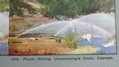 1890's Uncompagre River Colorado Hydraulic Placer Mining Stereoview-Ridgway CO