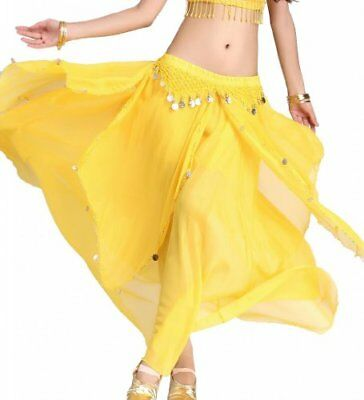 ZLTdream Women's Belly Dance Chiffon Skirt With Coins New