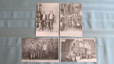 Set Of Four Italian Mining Photographs-Miners & Ore Cars-Mine Lamps-Equipment