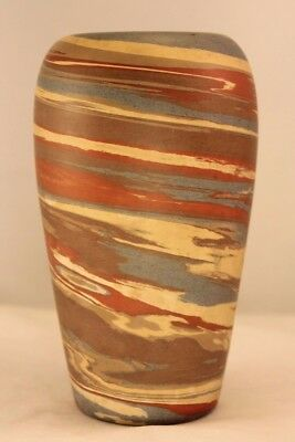 "Vintage Marked Niloak Swirl 6½"" Vase Mission Arts and Crafts"