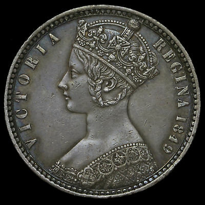 1849 Queen Victoria Godless Florin, Rare WW Obliterated Variety, G/EF