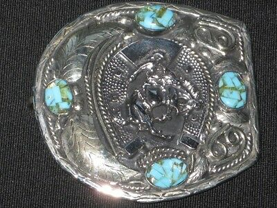 Vintage Western belt buckle with Turquoise inlay