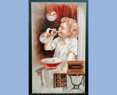 antique VICTORIAN TRADE CARD DOMESTIC SEWING MACHINES bs marsh BOY w/BUBBLES