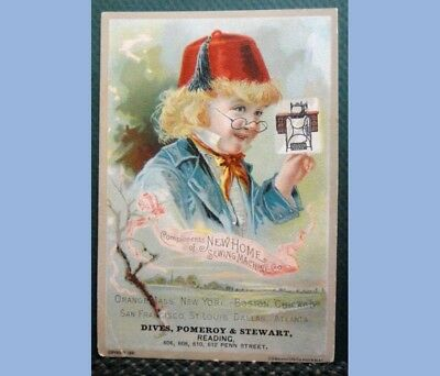 1891 antique VICTORIAN TRADE CARD NEW HOME SEWING MACHINE #2 hat boy READING PA