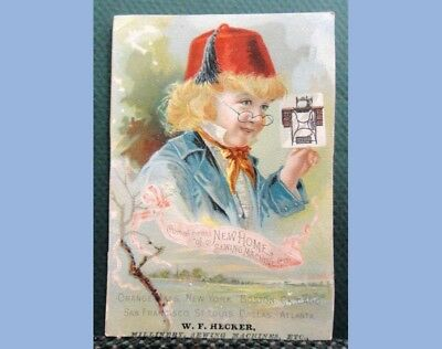 antique VICTORIAN TRADE CARD NEW HOME SEWING MACHINE red hat boy #3 HECKER