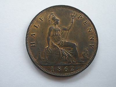 1862 Queen Victoria Halfpenny - Uncirculated With Lustre - Uk Post Free