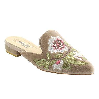 Women's Chic Backless Slip On Embroidery Mule Flats TAUPE Size 8 1/2