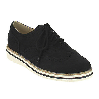 Soda Women Lace Up Comfort Wingtip Stitched Dress Oxfords BLACK SUEDE Size 7 1/2