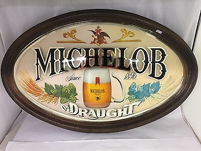 Framed Oval-Shaped Michelob Beer On Draught Bar Sign, 884-I