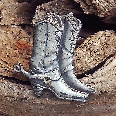 Vintage Cowboy Boots With Spurs Lapel Hat Collectible Pin