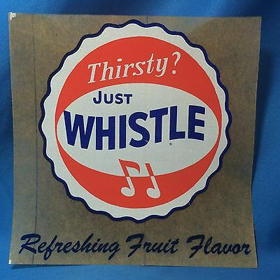 Original Vintage Just WHISTLE Soda Advertising Window DECAL