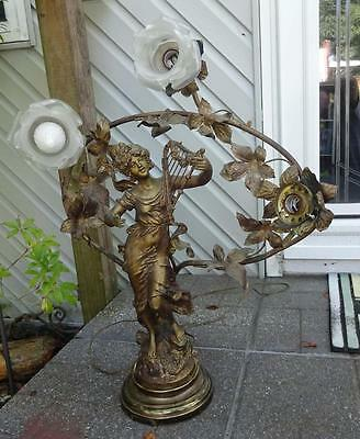 Antique French Spelter Newel Post Lamp L & F Moreau Girl with Lyre Harp c1900