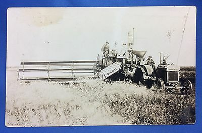1927 Vintage Original CASE TRACTOR & THRESHING Farm RPPC Real Photo Postcard