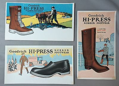 3 Original Vintage GOODRICH Rubber SHOES & FARM BOOTS Advertising Ink Blotter