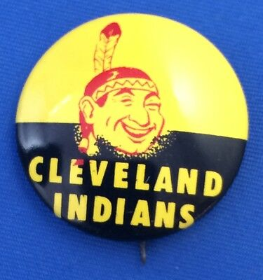 Original Vintage CLEVELAND INDIANS MLB BASEBALL Advertising Tin Litho Pin