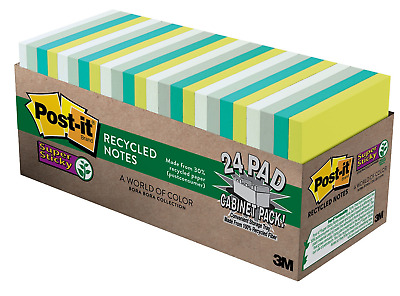"""New Post-it Notes, 3"""" x 3"""", Bora Bora Collection 70 Sheets Per Pad Pack of 24"""