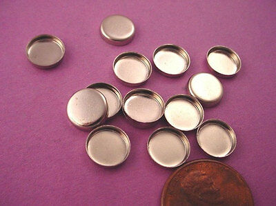 20 silver round wall bezel cups 8mm settings