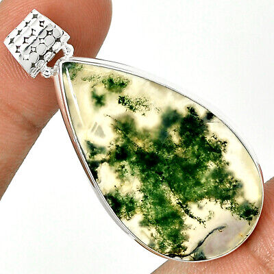 Moss Agate 925 Sterling Silver Pendant Jewelry MOSP551