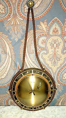 Antique Diehl German Astrological Signs Brass 8 Day Wind Hanging Deco Wall Clock